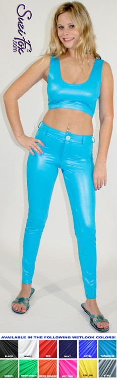 Womens Jean style pants shown in Turquoise Wet Look Lycra Spandex, custom made by Suzi Fox. • Choose any fabric on this site, including vinyl/PVC, metallic foil, metallic mystique, wetlook lycra Spandex, Milliskin Tricot Spandex. • Waistband, Button and front fly zipper. • optional rear patch pockets. • optional belt loops. • Optional ankle zippers.
