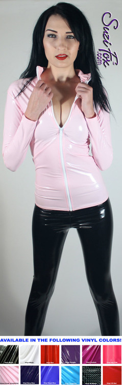 Womens Crop Jacket shown in Gloss Light Pink Vinyl coated Nylon Spandex, custom made by Suzi Fox. Custom made to your measurements! • Choose any fabric on this site. • Available in black, white, red, navy blue, royal blue, turquoise, purple, fuchsia, neon pink, light pink, matte black (no shine), matte white (no shine) stretch vinyl/PVC coated nylon spandex. • Your choice of zippers. • Optional wrist zippers. Made in the U.S.A.