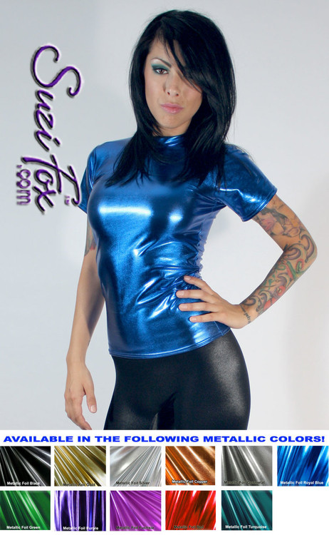 Womens T-Shirt in Royal Blue Metallic Foil coated Spandex, custom made by Suzi Fox. Custom made to your measurements! Choose any fabric on this site! Available in gold, silver, copper, gunmetal, turquoise, Royal blue, red, green, purple, fuchsia, black faux leather/rubber. • Optional wrist zippers if you choose long sleeves. Made in the U.S.A.