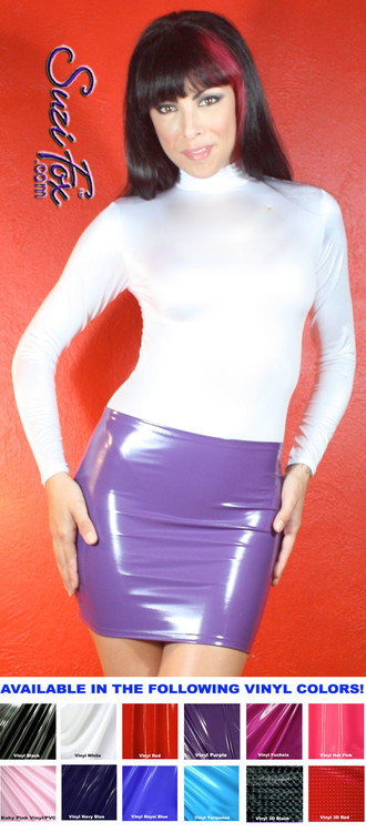 Hiphugger Micro Mini Skirt shown in Gloss Purple Vinyl/PVC Spandex, custom made by Suzi Fox. Custom made to your measurements! Available in black, white, red, navy blue, royal blue, turquoise, purple, Neon Pink, fuchsia, light pink, matte black (no shine), matte white (no shine), black 3D Prism, red 3D Prism, Turquoise 3D Prism, Baby Blue 3D Prism, Hot Pink 3D Prism, and any other fabric on this site. Made in the U.S.A.