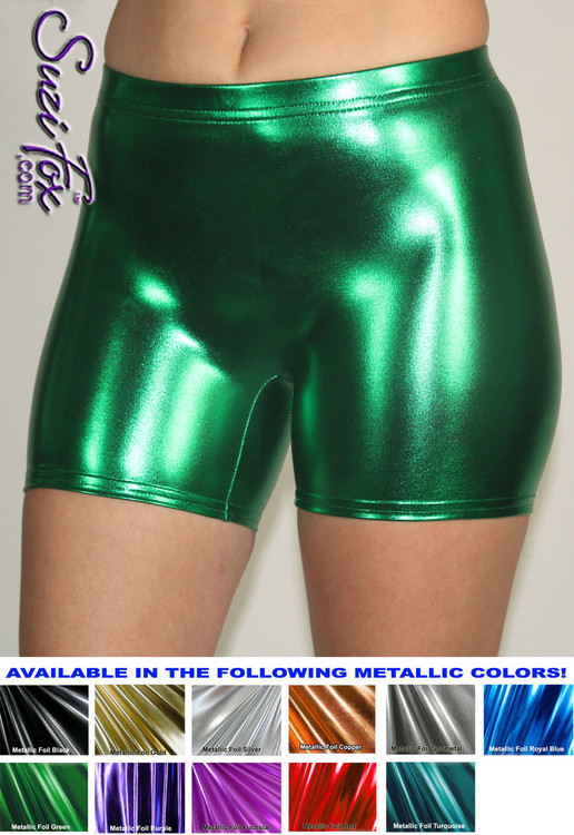 Women's Smooth Front Shorts shown in Green Metallic foil coated Spandex, custom made by Suzi Fox. Custom made to your measurements! Available in gold, silver, copper, gunmetal, turquoise, Royal blue, red, green, purple, fuchsia, black faux leather/rubber, and any other fabric on this site. • 1 inch no-roll elastic in the waist. • Choose your inseam! • Optional rear patch pockets. • Optional belt loops. Made in the U.S.A.