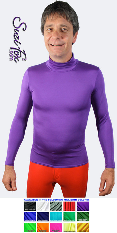 Mens Turtleneck Pullover Shirt shown in Purple Milliskin Tricot Spandex, custom made by Suzi Fox. • Available in black, white, red, royal blue, sky blue, turquoise, purple, green, neon green, hunter green, neon pink, neon orange, athletic gold, lemon yellow, steel gray Miilliskin Tricot spandex, and any fabric on this site. • Choose your sleeve length. • Give us your measurements for a custom fit! • Standard length is 24 inches (61 cm) for sizes XXXS-Medium; 27 inches (68.6 cm) for sizes Large and up. • Optional add extra length to the shirt. • Made in the U.S.A.
