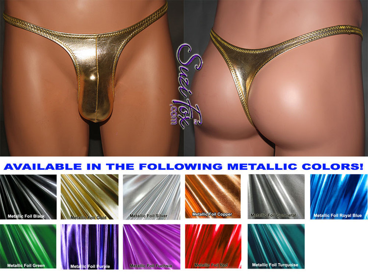Mens Contoured Pouch Front, Wide Strap, T-Back thong for the well endowed man - shown in Gold Metallic Foil Spandex, custom made by Suzi Fox. • Available in gold, silver, copper, gunmetal, turquoise, Royal blue, red, green, purple, fuchsia, black faux leather/rubber Metallic Foil or any fabric on this site. • Standard front height is 9 inches (22.9 cm). • Available in 3, 4, 5, 6, 7, 8, 9, and 10 inch front heights. • Wear it as swimwear OR underwear! • Made in the U.S.A.