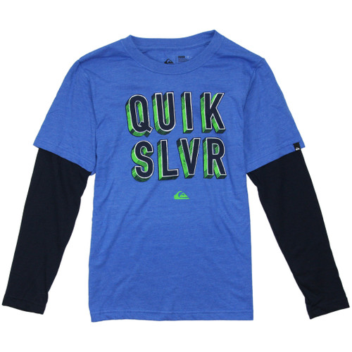 Quiksilver Youth Tee Shirt - Quik Addict Boys - Victoria Blue Heathr