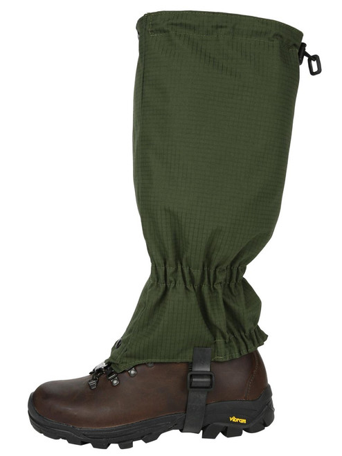 Full length Single Ventile® Gaiters for excellent breathability and durability, giving weather protection for walking or field sports. Colour: Olive Ripstop.