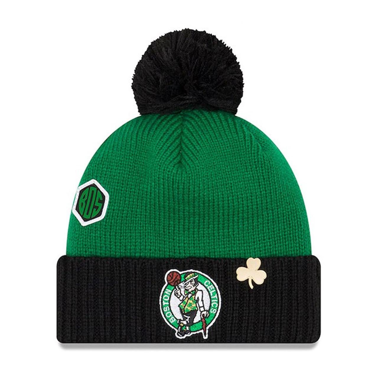 NEW ERA boston celtics NBA basketball team draft cuffed knit hat with pom   kelly green ... 4b2101f7a