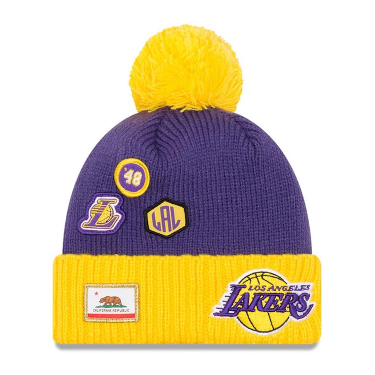 NEW ERA los angeles lakers NBA basketball team draft cuffed knit hat ... c49588384
