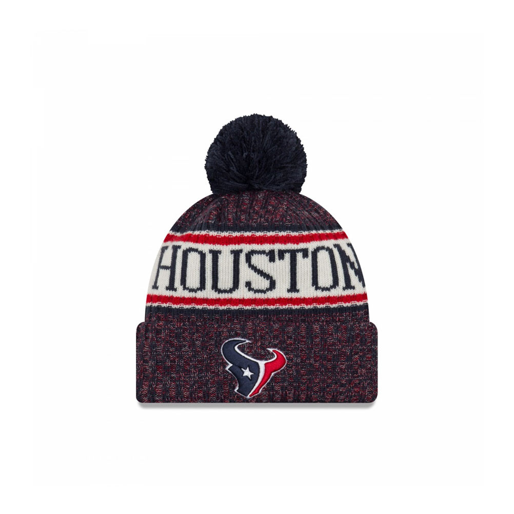c5848bbce1aa24 Details about NEW ERA Houston Texans NFL sideline knit bobble beanie hat  [Navy/red]