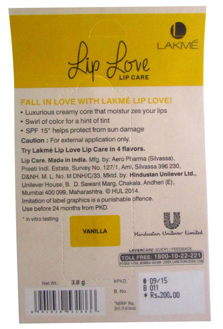 Lakme Lip Love Lip Care SPF 15 Vanilla Original Product