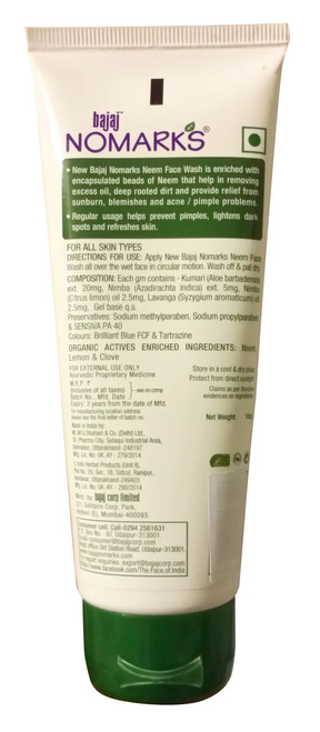 Bajaj Nomarks Neem Face Wash 100g original product indian