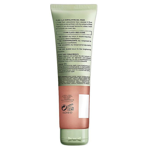 L'oreal Paris Pure Clay Red Algae Exfoliating Face Wash-Red 150ML best price original products