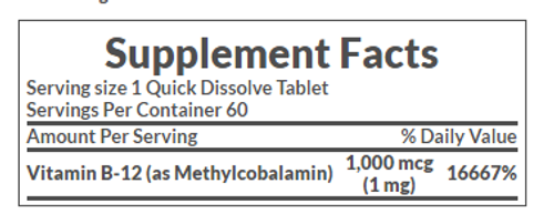 Nature's Bounty B-12 Methylcobalamin 1000 mcg (60 Quick Dissolve Tablets) nutrition facts