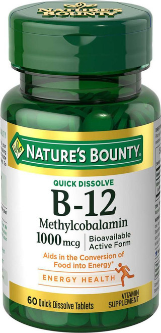 Nature's Bounty B-12 Methylcobalamin 1000 mcg (60 Quick Dissolve Tablets) original genuine vitamins and supplements