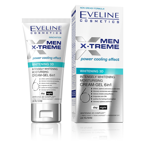 Eveline Men X-treme 3d Whitening Moisturising Cream Gel 50ML shop online men genuine products in pakistan men whitening cream