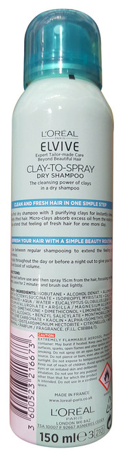 L'oreal Paris elvive Clay To Spray Dry Shampoo 150ml best dry spray shampoo in pakistan