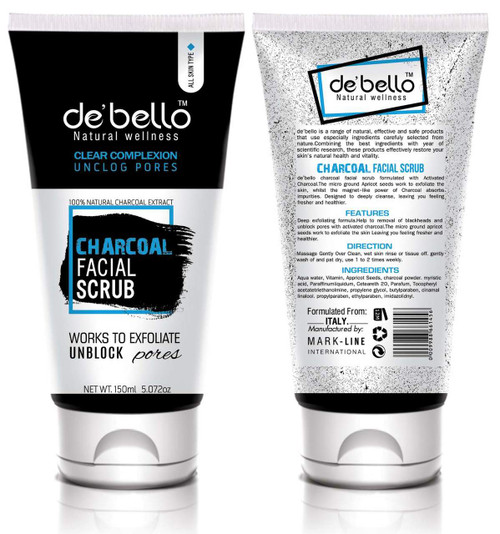 De'Bello Charcoal Facial Scrub 150 ML shop online in Pakistan