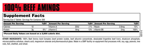 Universal Nutrition Beef Amino Nutrition Fact