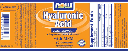 GNC Now® Hyaluronic Acid Label + Nutritional Facts