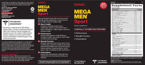 GNC Mega Men Sport 90 Caplets Label + Nutritional Facts