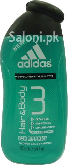 Adidas Ice Effect Hair and Body 3 Shower Gel and Shampoo
