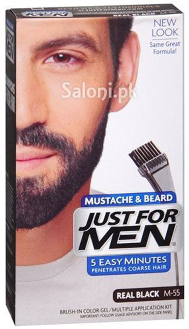 Just For Men Brush-In Color Mustache & Beard Gel Real Black M-55