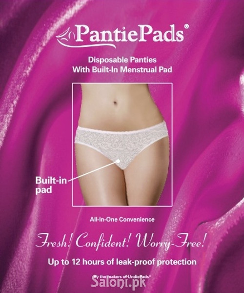 Pantiepads Disposable Panties with Built-In Menstrual Pad (3 Pads Pack)