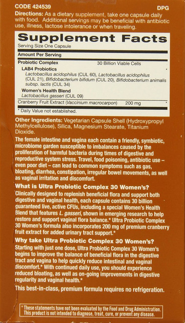 GNC Ultra 30 Billion CFUs Probiotic Complex - Women's (30 Vegicaps) Back