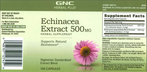 GNC Herbal Plus® Echinacea Extract 500mg (100 Capsules)