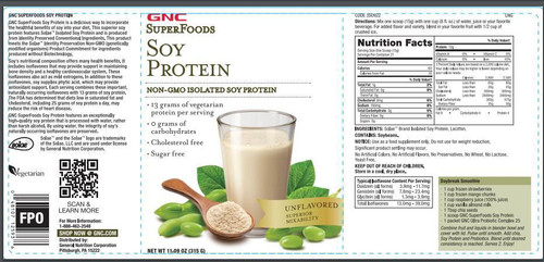 GNC SuperFoods Soy Protein Unflavored 315 Grams