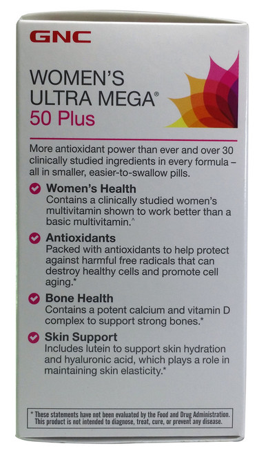 GNC Womens Ultra Mega 50 Plus Dietary Supplement 60 Caplets