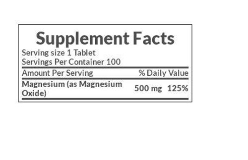 Nature's Bounty Magnesium 500 mg Supplement Facts