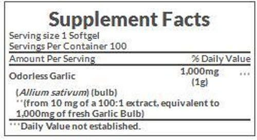 Nature's Bounty Garlic 2,000mg Supplement Facts