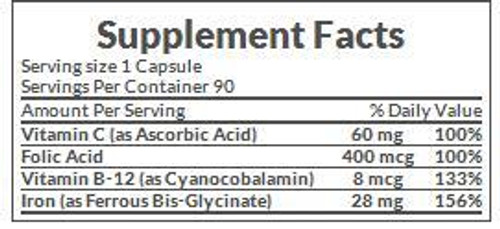 Nature's Bounty Gentle Iron 28mg Supplement Facts
