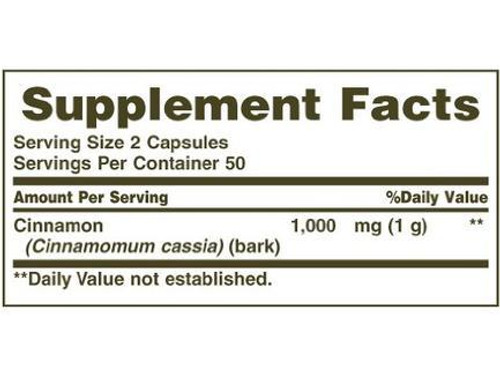 Natures Bounty Cinnamon 1000mg Supplement Facts