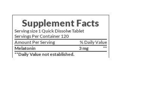 Nature's Bounty Melatonin 3 mg Supplement Facts
