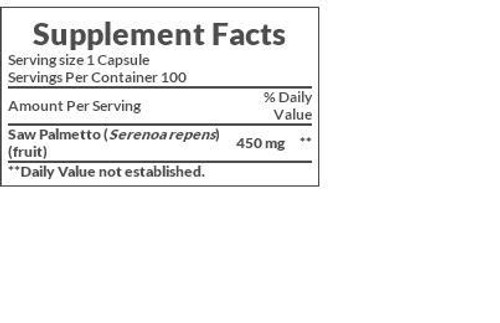 Nature's Bounty Saw Palmetto 450mg Supplement Facts