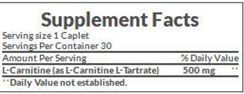 Nature's Bounty L-Carnitine 500mg Supplement Facts