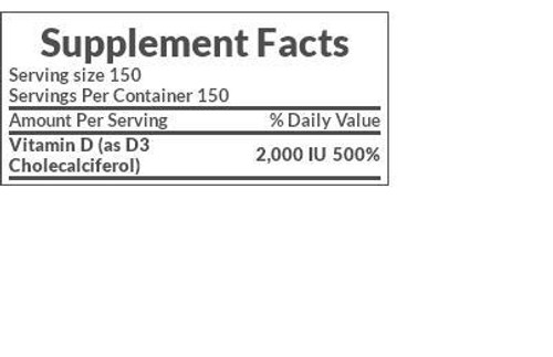 Nature's Bounty Vitamin D3 2,000 IU Supplement Facts
