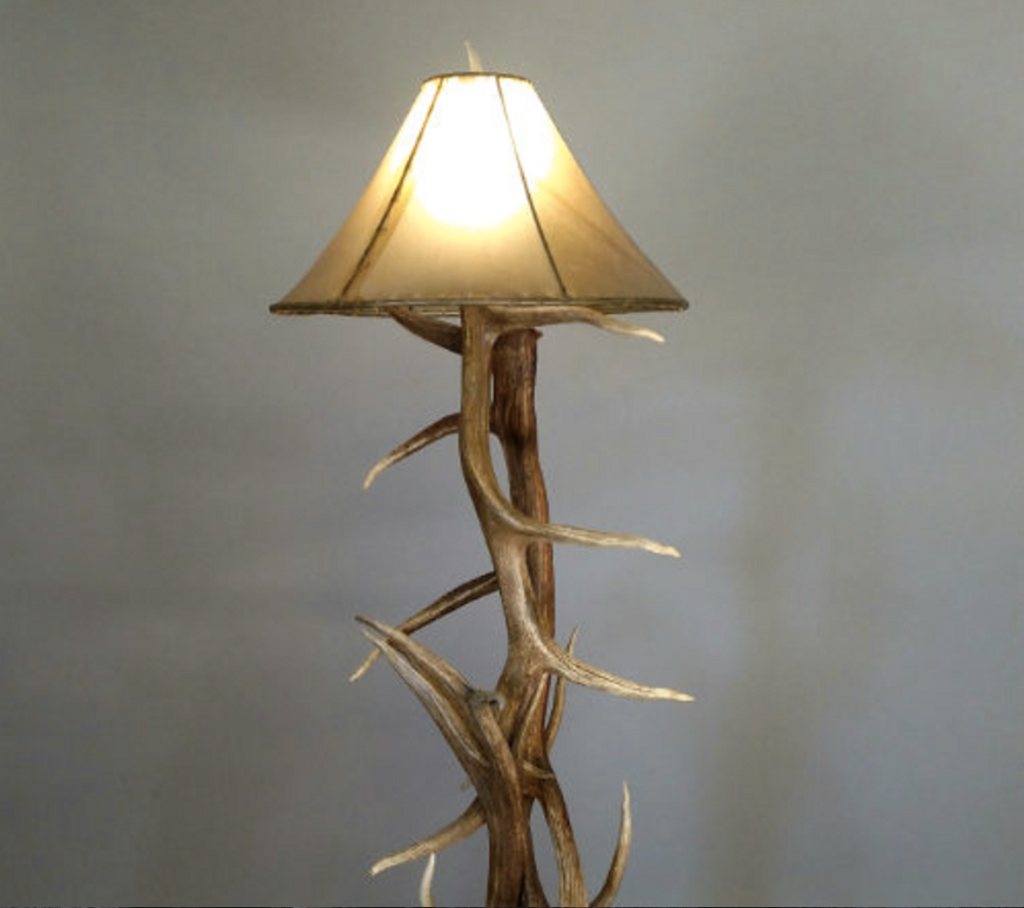 with antler floor rawhide lamp shown pin antlers real shade natural and