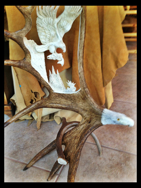 Eagle Last Catch Moose Antler Carving