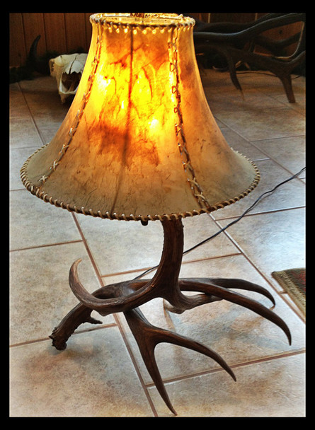 Mule Deer 2 Antler Table Lamp w/Rawhide Shade