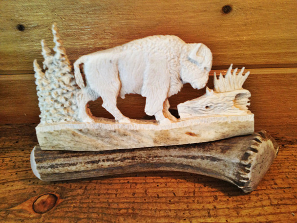 Bull Bison Antler Carving