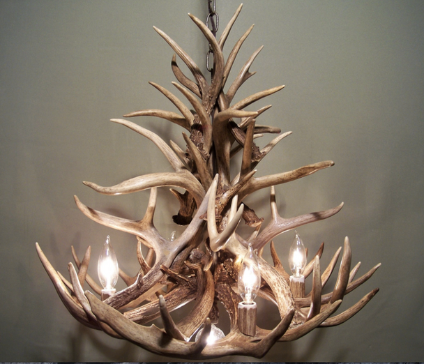 "Palisades Antler Chandelier, 24"" W x 20"" T, 4 Lights, DL"