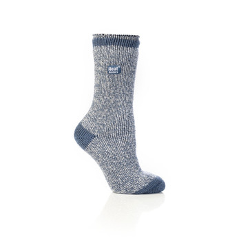 Grabber LHHTWSDC Grabber Heat Holders Ladies Twist Crew Sock-Blue/Cream