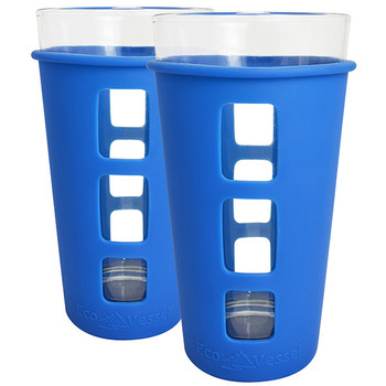 Eco Vessel PNT473BL-2 Eco Vessel 2 pc. Vibe Glass Pint w/Silicone Sleeve Blue 16oz