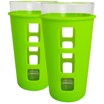 Eco Vessel PNT473GN-2 Eco Vessel 2 pc. Vibe Glass Pint w/Silicone Sleeve Grn 16oz