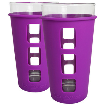 Eco Vessel PNT473PR-2 Eco Vessel 2 pc. Vibe Glass Pint w/Silicone Sleeve Prpl 16oz