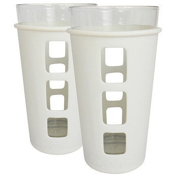 Eco Vessel PNT473WH-2 Eco Vessel 2 pc Vibe Glass Pt w/Silicone Sleeve Whteout 16oz