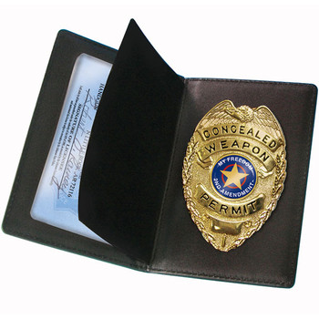 PS Products PSCWPB PS Products Concealed Carry Badge and Wallet Black