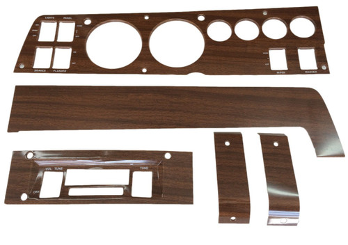 141W-SET Mopar 1969 B-body Woodgrain Rallye Dash Bezel Kit (No AC, AM/FM)